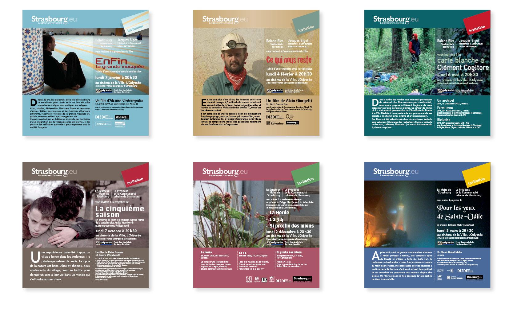 Mise en pages et graphisme des invitations Ville de Strasbourg.