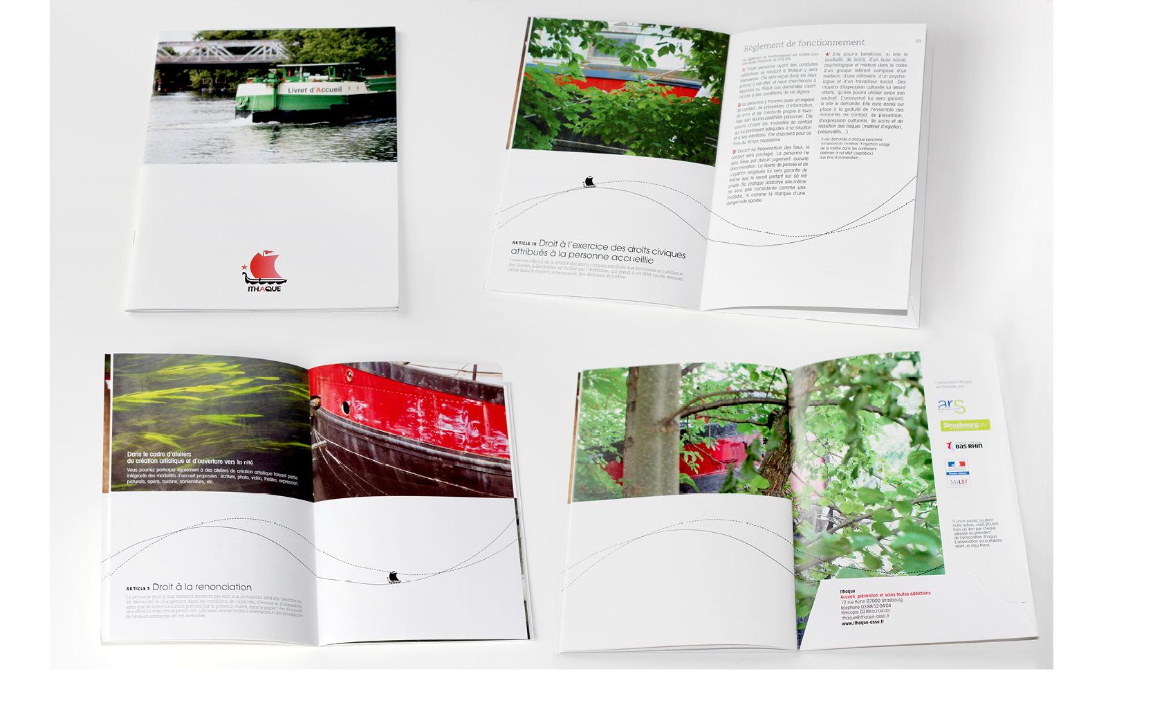 Graphisme et mise en pages du Livret d'accueil pour Ithaque, 2012.