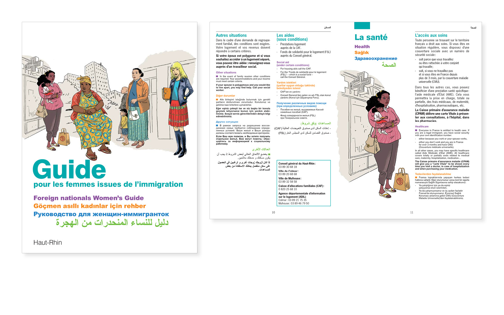 Mise en pages du Livret Haut-Rhin en 2011, et autres départements jusqu'en 2014, illustrations Nicolas Wintz.