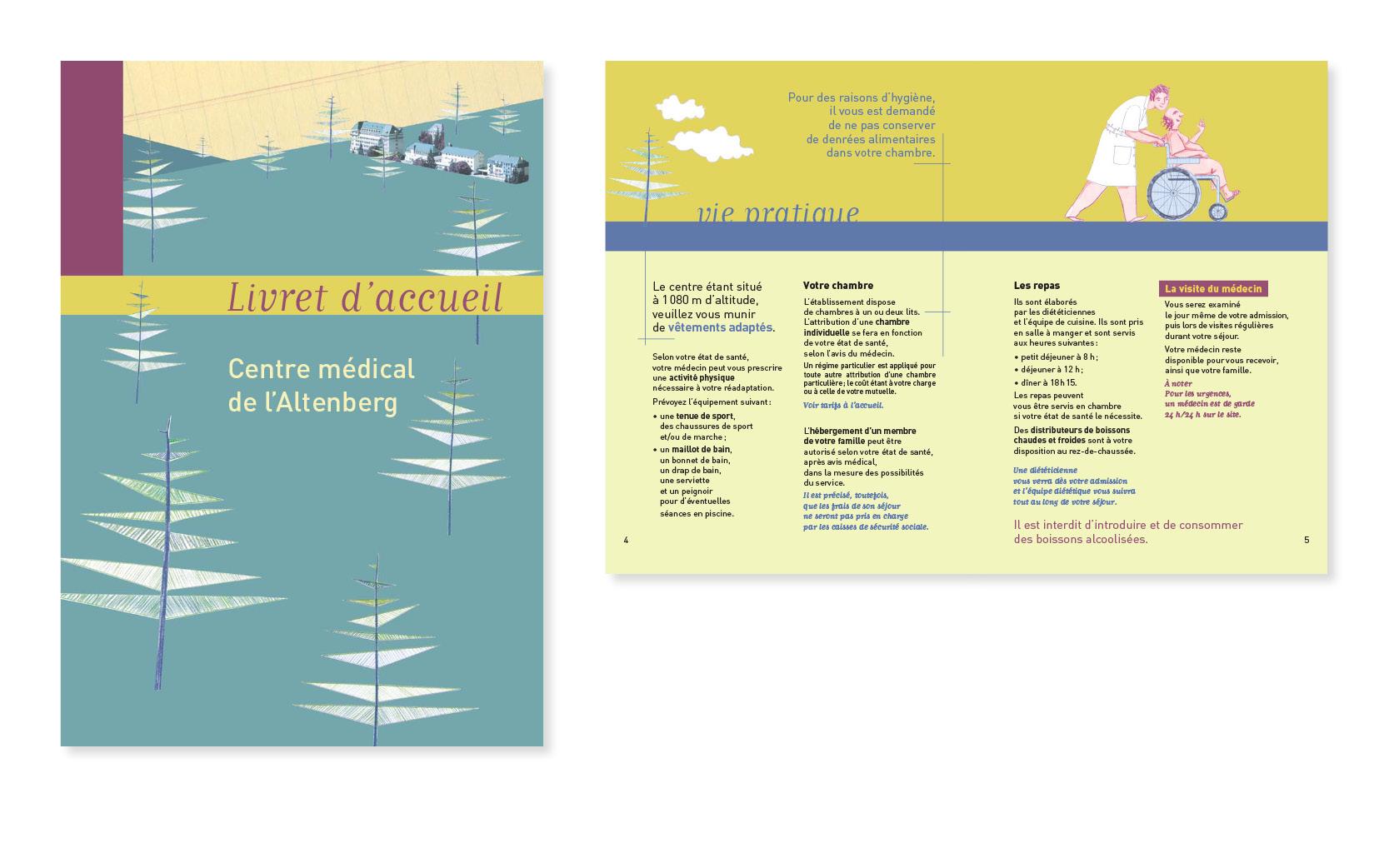 Mise en page en graphisme du Livret d'accueil pour le Centre médical de l'Altenberg, 20 pages, 2004.