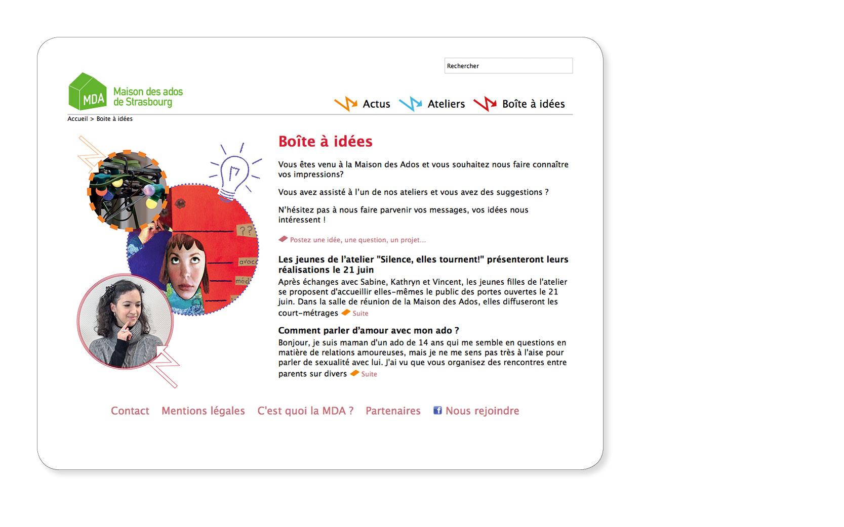 Création du site internet de la Maison des ados de Strasbourg, 2012. Informatique, Arboresys conseil.