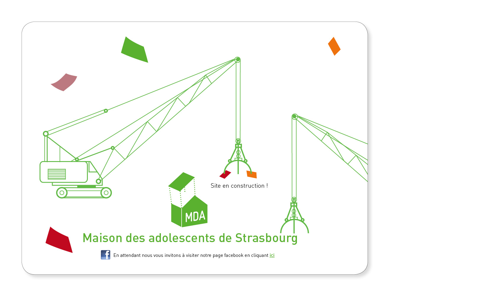 Page temporaire en attendant la construction du site internet de la Maison des ados de Strasbourg, 2012.