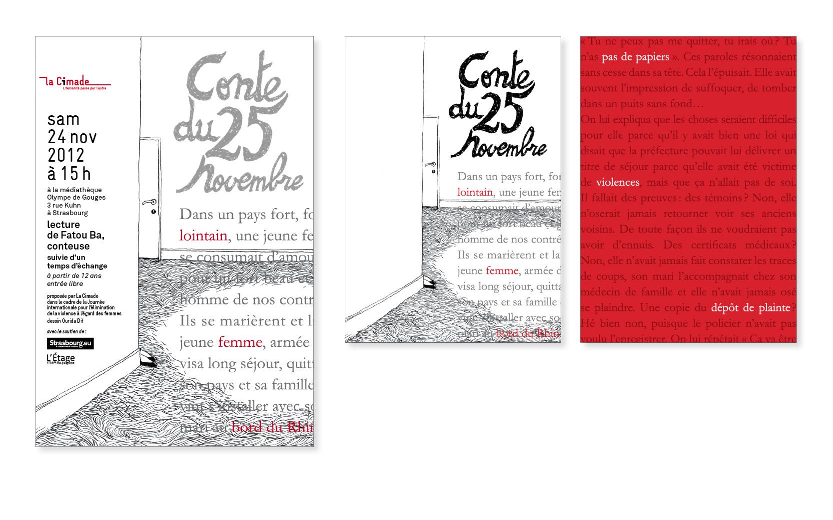 Affiche et tract recto-verso pour la Cimade Alsace-Lorraine, 2012
