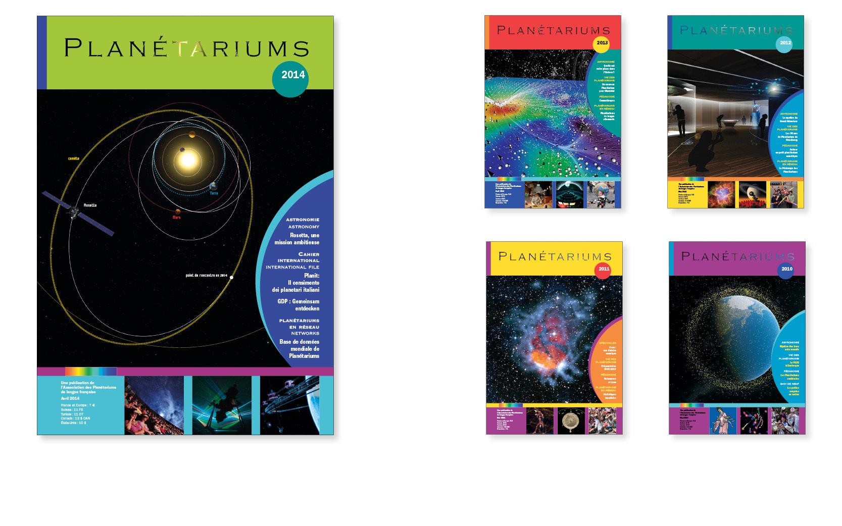 Revue de l'Association tête de réseau des planétariums de France, 56 à 92 pages, de 2004 à 2014.