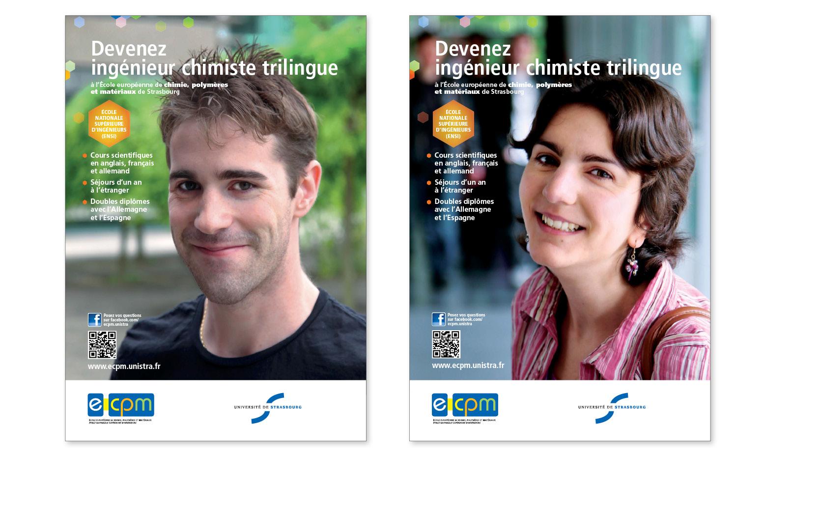 Affiches à destination des étudiants, École européenne de chimie, polymères et matériaux, Université de Strasbourg, 2012 et 2013.