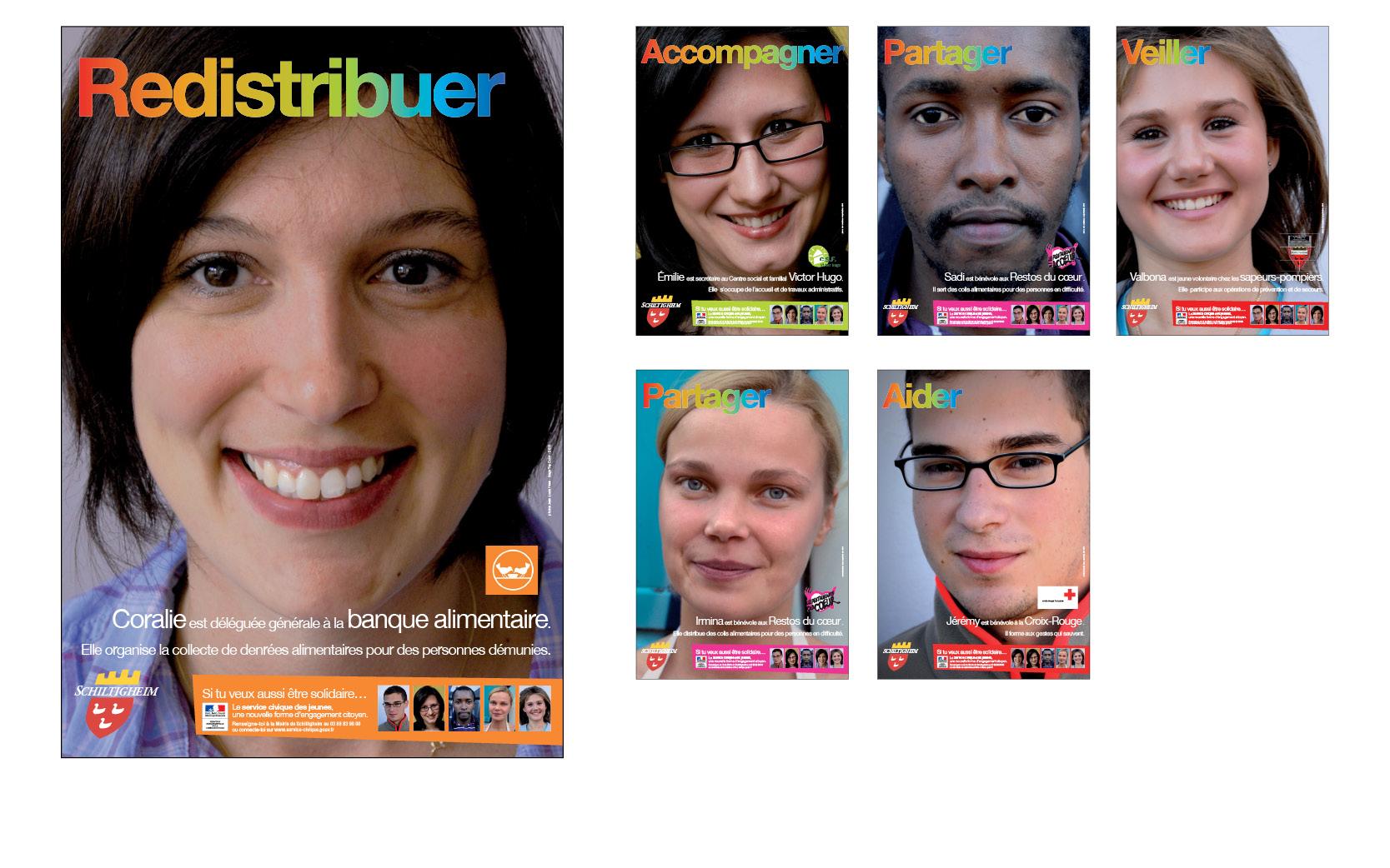 Série de 6 affiches pour un appel à candidatures au service civique  des jeunes, en partenariat  avec les associations locales, 2010. Photos Jean-Louis Hess.