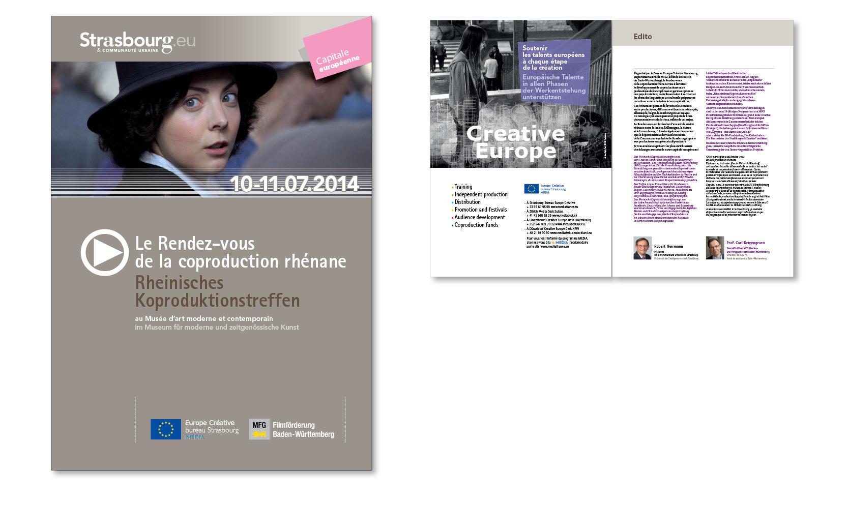 Catalogue du Rendez-vous de la coproduction rhénane. Réalisation de la couverture et conception des pages intérieures, 2014.