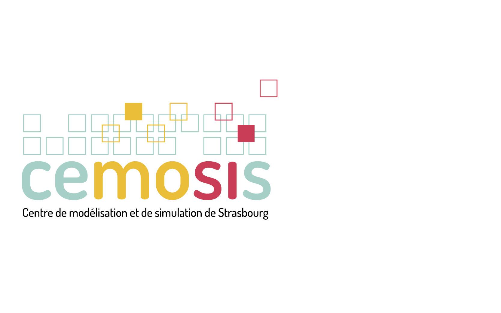 Logotype et ligne graphique pour Cemosis, Université de Strasbourg, 2014.