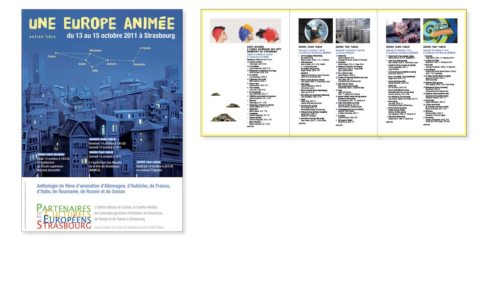 Affiche Europe animée et programme 6 pages,  Partenaires culturels européens, 2011.