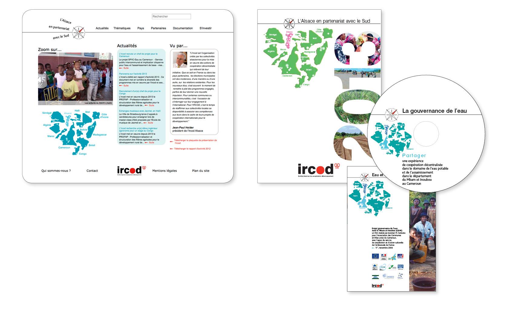 Logotype, nouvelle ligne graphique et site internet pour l'Ircod Alsace, 2014.