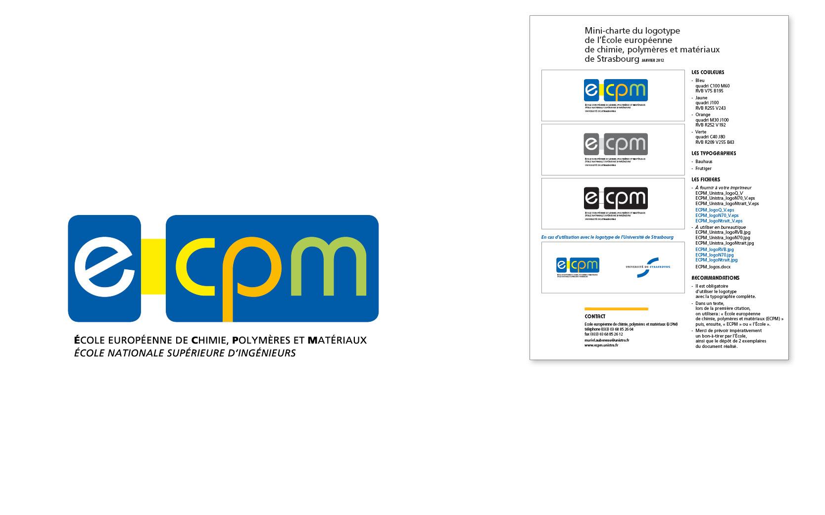 Logotype et mini-charte pour Plaquette élève pour l'École européenne de chimie, polymères et matériaux, 2007.