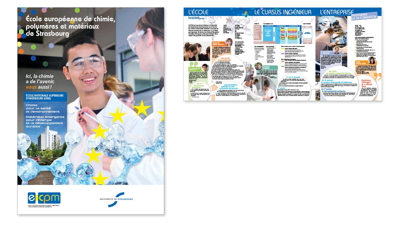Plaquette élève pour l'École européenne de chimie, polymères et matériaux, réédition 2014.