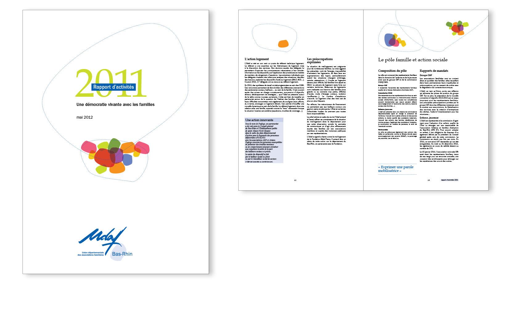 Nouvelle ligne graphique pour l'Udaf Bas-Rhin, ici le Rapport d'activités, 32 pages, 2012.